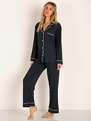 Model in navy/bellini Eberjey Gisele Long PJ Boxed Set