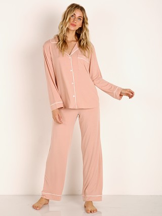 Model in misty rose/ivory Eberjey Gisele Long PJ Boxed Set