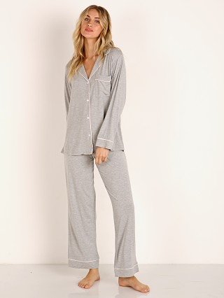 Model in heather grey/ bellini Eberjey Gisele Long PJ Boxed Set Heather Grey/Bellini