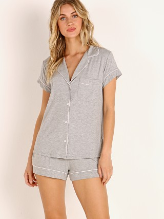 Model in heather grey/ bellini Eberjey Gisele Short PJ Boxed Set Heather Grey/Bellini