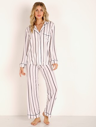 Model in winter stripes/navy heather Eberjey Sleep Chic Long PJ Boxed Set
