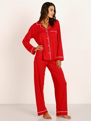 Model in haute red Eberjey Gisele Long PJ Boxed Set