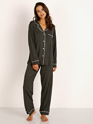 Model in charcoal heather/bellini Eberjey Gisele Long PJ Boxed Set