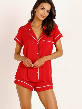 Model in haute red Eberjey Gisele Short PJ Boxed Set