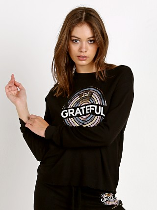 Spiritual Gangster Grateful Medallion Crop Sweatshirt Black