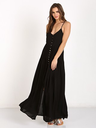 Indah Pleat & Button Maxi Dress Black