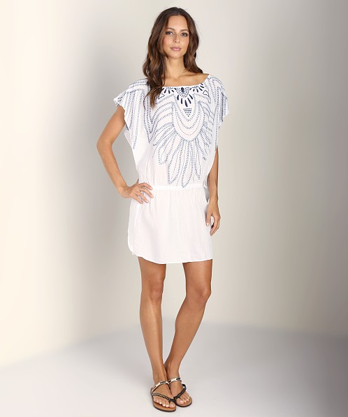 Sofia by Vix Solid Butterfly Caftan White