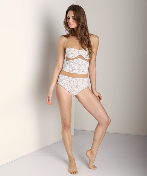 SKIVVIES by For Love & Lemons Boy Crazy Bodysuit Ivory/Nude