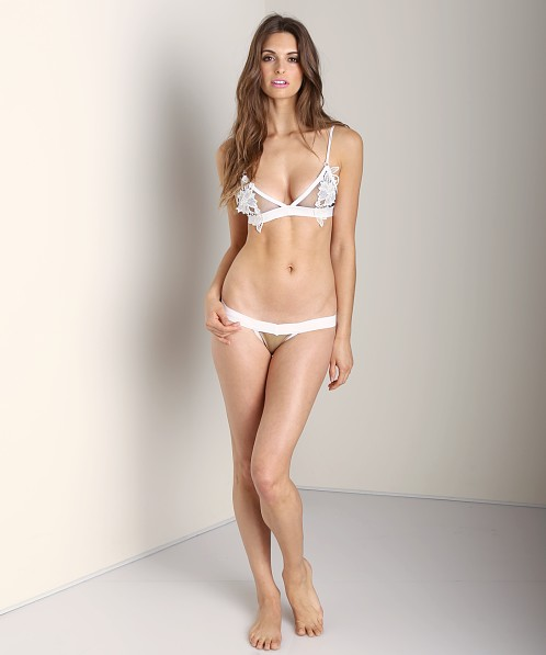 SKIVVIES by For Love & Lemons Fleur Thong Ivory Black