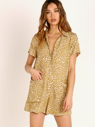 Model in desert cheetah Show Me Your Mumu Yvette Romper