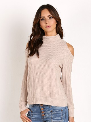 LNA Clothing Open Shoulder Turtleneck Sand