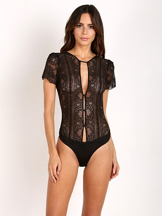SKIVVIES by For Love & Lemons Elsa Lace Bodysuit Black