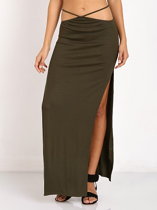Indah Gigi String Waist High Slit Maxi Skirt Pine