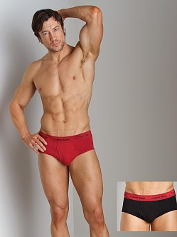 Calvin Klein Cotton Stretch 2 Pack Brief Red & Black
