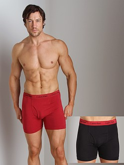 Calvin Klein Cotton Stretch 2 Pack Boxer Brief Red & Black