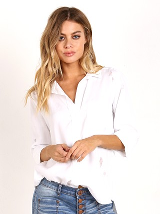 Bella Dahl Ripped Shirt Tail Button Down White