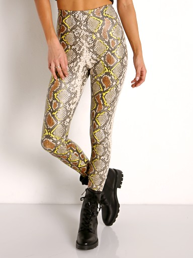 Model in neon snake Commando Faux Animal Legging with Control