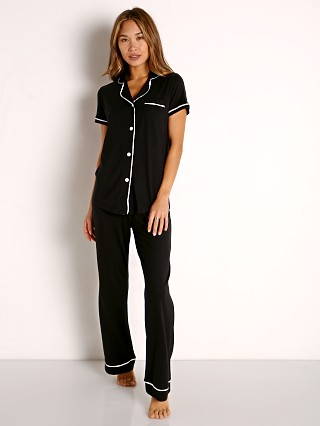 Model in black/ivory Cosabella Bella PJ Short Sleeve and Pant Set