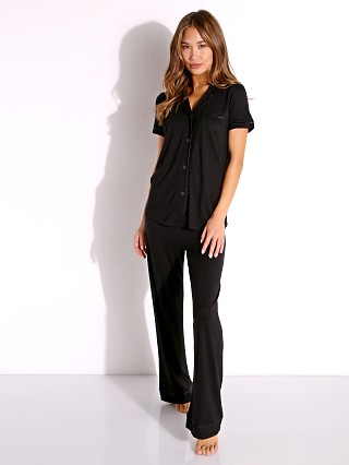 Model in black/black Cosabella Bella PJ Short Sleeve and Pant Set