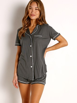Model in anthracite/ivory Cosabella Bella PJ Short Sleeve Top with Short Set Anthracite/Iv