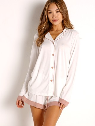 Model in moon ivory/mandorla Cosabella Bella Long Sleeve Top with Boxer Set Moon Ivory/Mando
