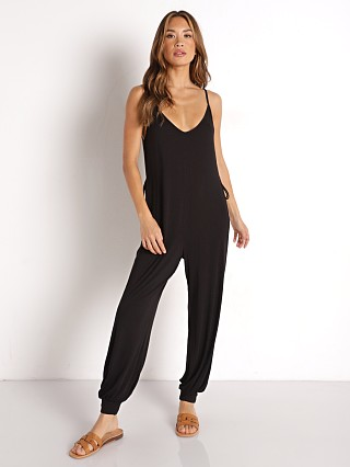 Model in black Eberjey Finley Knotted Jumpsuit
