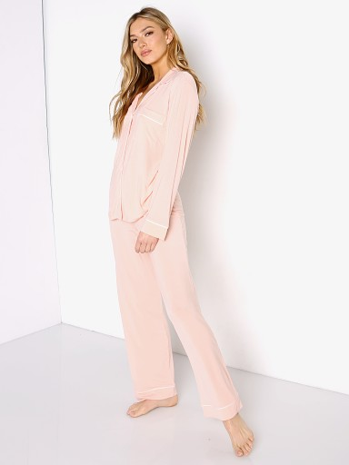 Model in melon Eberjey Gisele Long PJ Set