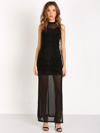 MinkPink Mesh Up Maxi Dress Black