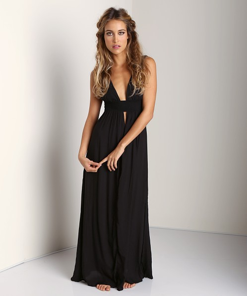 Indah Anjeli V-Neck Maxi Dress Black