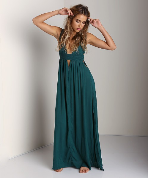 Indah Anjeli V-Neck Maxi Dress Jungle Green