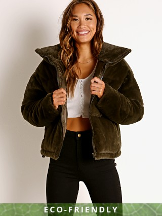 APPARIS Billie Faux Fur Jacket Army Green