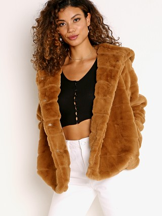 Model in camel APPARIS Goldie Faux Fur Jacket