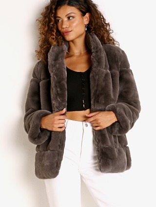 Model in ash gray APPARIS Sarah Faux Fur Jacket