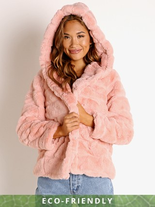 APPARIS Goldie Faux Fur Jacket Peach