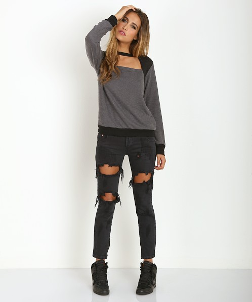 LNA Clothing Zelda Sweater Dark Grey