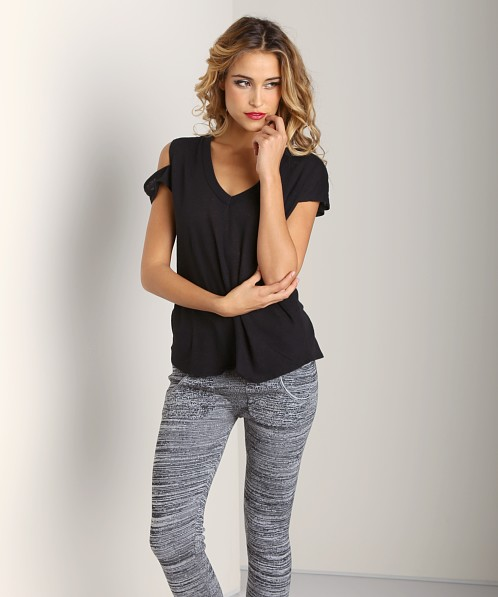 LNA Clothing Ruby Cutout Tee Black