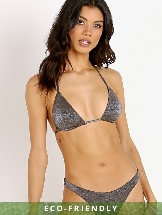 Vitamin A Gia Triangle Bikini Top Metallic Graphite
