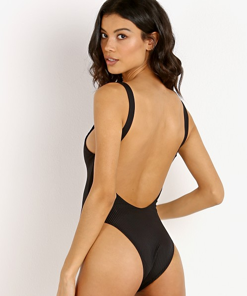 Vitamin A Leah Bodysuit One Piece Black Eco Rib