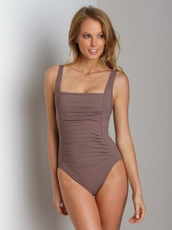 Calvin Klein Pleated Front One Piece Bathing Suit Iron