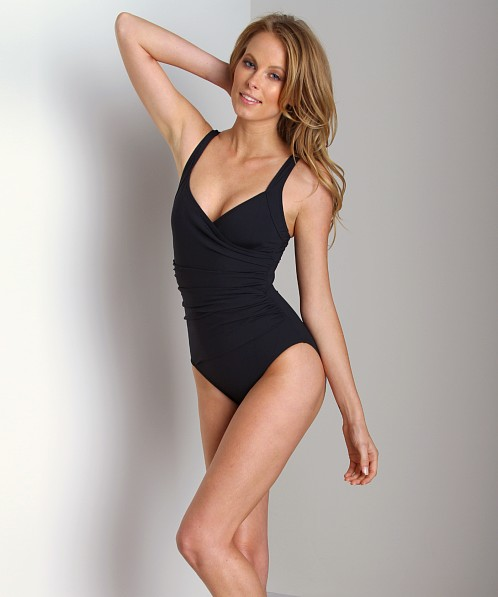 Calvin Klein Solid Shirred Panel One Piece Bathing Suit Black