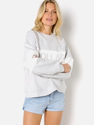 Model in grey marle Rollas Split Logo Sweater