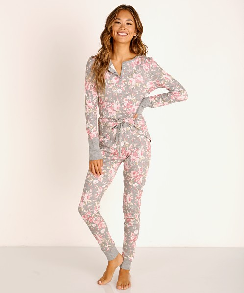 Splendid Henley Long Sleeve + Pant Thermal PJ Set Heather Grey