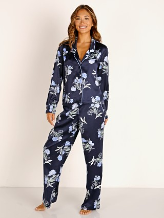 Model in evening floral Splendid Long Sleeve + Pant PJ Set