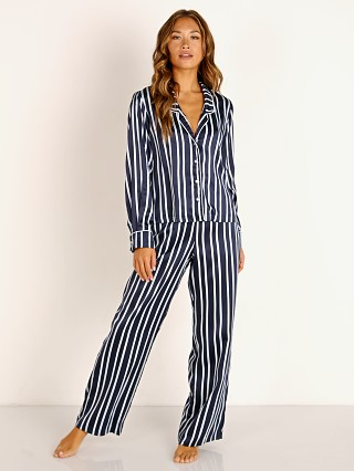 Model in bay stripe Splendid Long Sleeve + Pant PJ Set