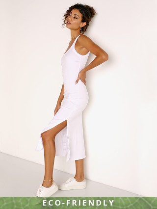 Model in white Vitamin A Organic Rib West Dress