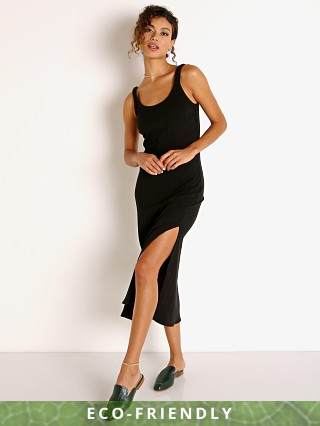 Model in black Vitamin A Organic Rib West Dress