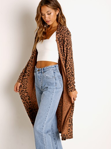 Model in leopard LNA Clothing Brushed Dean Long Cardi