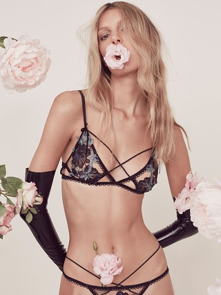 SKIVVIES by For Love & Lemons Florette Applique Bra Teal