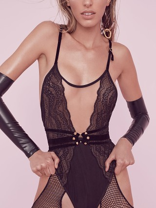 SKIVVIES by For Love & Lemons Evie Lace Bodysuit Black