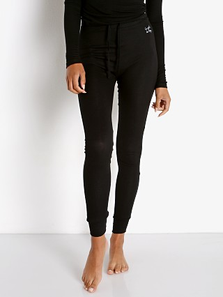 Model in black Les Girls Les Boys Fine Rib Lounge Pant